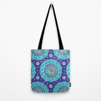 Aqua & Purple Mandala Tote Bag by Sarah Oelerich