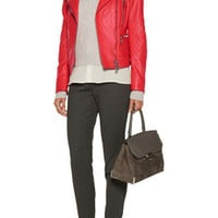 Belstaff Cheshire leather biker jacket – 66% at THE OUTNET.COM