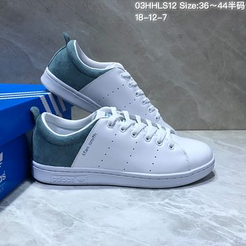 DCCK A466 Adidas Stan Smith Suede Leather Casual Skate Shoes White Blue