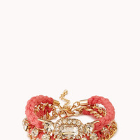 FOREVER 21 Touch-of-Glam Bracelet Set Coral/Clear One