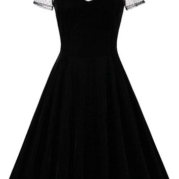 Atomic Black Dotted Sheer Gothic Dress