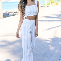 Beige Striped Two Piece Set