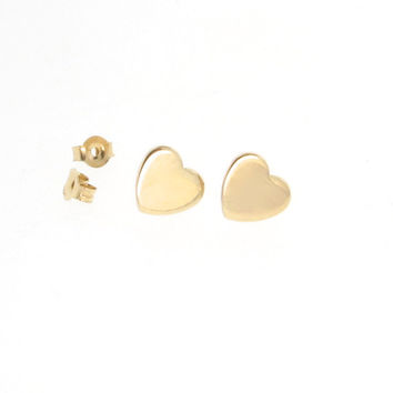 Heart Earring Studs - As Seen on Emma Stone - Tiny 14k Gold Post Earrings In Yellow or White Gold