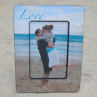 """Personalized Engagement Picture Frame, Unique Custom Wedding """"Picture in Picture"""" Photo Frame"""