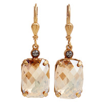 Rectangular Crystal Earrings, ChampagneLA VIE PARISIENNE