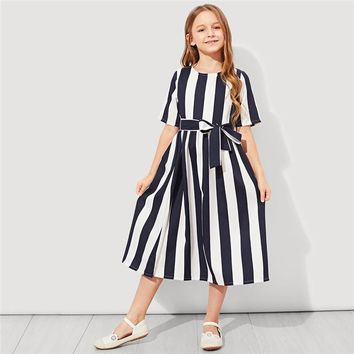 Girl's Tie Waist Button Striped Fit and Flare Casual Dress