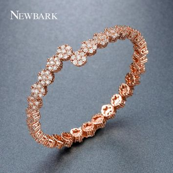 NEWBARK 30pcs Flower Beads Adjustable Bracelet&Bangle Open Interface Shining CZ Rose Gold Color Full Crystal Garland Jewelry