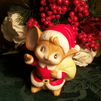 Brown Mouse Dressed as Santa Porcelain Figurine Vintage Holiday Decoration by Homco