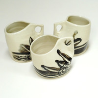 Stoneware mugs,set of three cups,pottery mugs,ceramic mugs,ceramic cups,pinched cups,black and white mug,