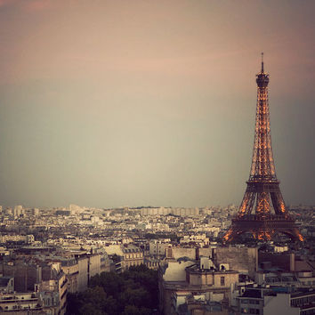 Paris photography - The Most Beautiful City - Eiffel Tower at sunset, France - Fine art travel photograph