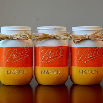Halloween Decor, Fall Decor, Candy Corn Decor, Halloween Mason Jar, Fall Mason Jar, Candy Corn Mason Jar, Pint Size Mason Jar