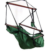 Green Hanging Adjustable Hammock Chair Swing With Pillow Footrest and Drink Holder