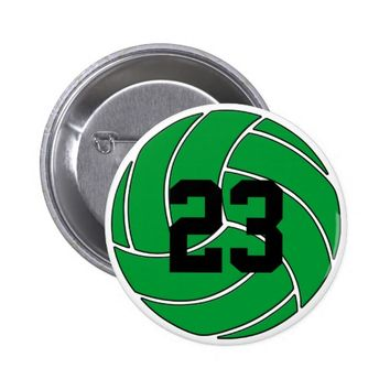 Green Volleyball with Jersey Number or Initials Button