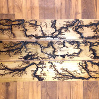 Repurposed wood wall art with Lichtenberg figures
