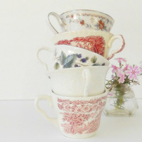 Vintage Red White and Blue Mismatched Tea Cups, Set of 5, Shabby Chic, Tea Party, Mid Century,Wedding, Bridesmaid Gifts