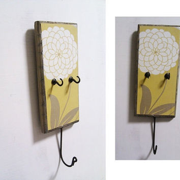 key holder  wall mounted yellow mustard by Ayliss on Etsy