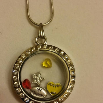Softball queen living locket necklace, player, team, sport, athlete, fan