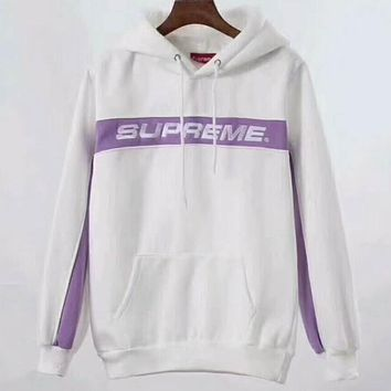 Supreme Trending Women Men Long Sleeve Embroidery Hoodie Sweater High Quality White I-A-HRWM