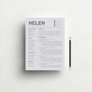 Modern Resume Template and Cover Letter Template for Word | DIY Printable 3 Pack | Professional and Creative Resume Design | Mac or Pc