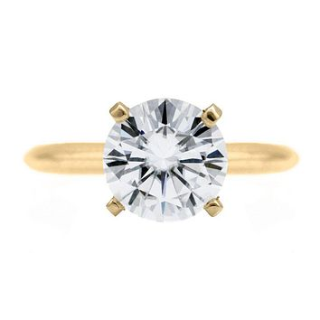 Round Moissanite 14K or 18K Yellow Gold 4 Prongs Solitaire Ring