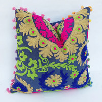 """Beautiful Indian Handcrafted Wool Embroidered Pillows Suzani Cushion Cover Turkish Style Traditional Retro Ethnic Artwork Cotton Pillows 16"""""""