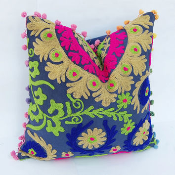 Beautiful Indian Handcrafted Wool Embroidered Pillows Suzani Cushion Cover Turkish Style Traditional Retro Ethnic Artwork Cotton Pillows 16""