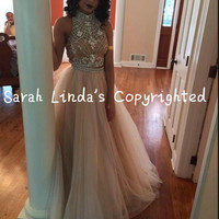 2016 champagne Two Pieces Prom Dresses Heavily Beading Pearls High Neck prom gowns stylish formal prom dress hot sale
