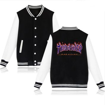 Thrasher flame special large size tide coat plus cashmere couple baseball clothing Purple letters-2