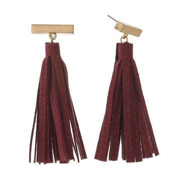 Gold Bar Faux Leather Tassel Earrings