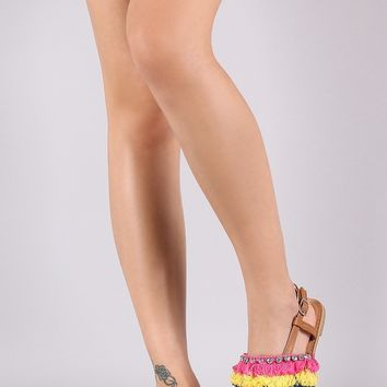 Qupid Jeweled Tiered Fringe Thong Flat Sandal