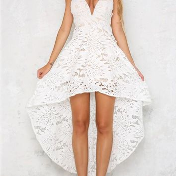 White Floral Lace Backless Swallowtail High-low Spaghetti Strap Homecoming Party Maxi Dress