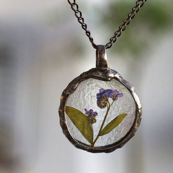 real plant necklace, botanical, terrarium necklace, real flowers necklace, handmade