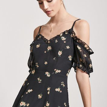 Floral Open-Shoulder Mini Dress