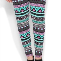 Plus Size Legging with Sun Scroll Tribal Print