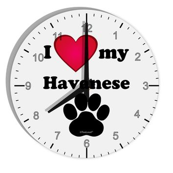 """I Heart My Havanese 8"""" Round Wall Clock with Numbers by TooLoud"""
