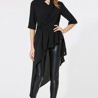 Chicloth Black V-Neck Half Sleeve High Low Hem Blouse