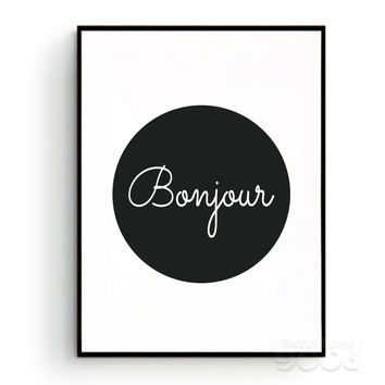 Bonjour Canvas Art Print Poster,  French Quote Wall Pictures for Home Decoration, Giclee Print Wall Decor YE146