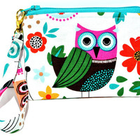 Hoo, Me? wristlet purse, small zippered pouch, clutch, small purse, keychain is detachable