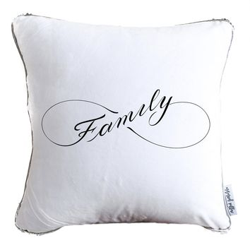 Infinity-Family Decorative Throw Velvet Pillow w/ Silver & White Reversible Sequins