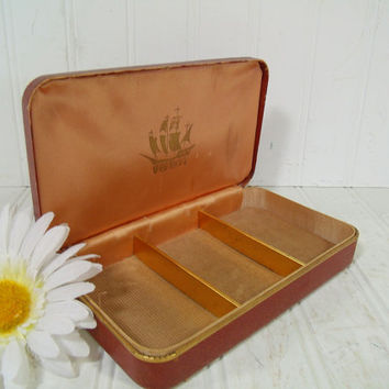 Shabby Hard Shell Saddle Brown Travel Farrington Texol Jewelry Case - Vintage Khaki Corduroy Lined Display Box Mens Metal Clam Shell Storage