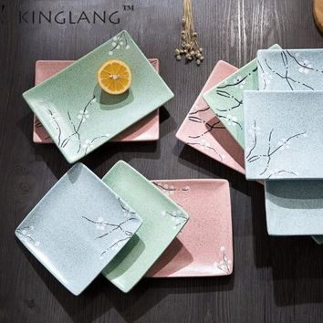 1pc Japanese Style  Restaurant Square Ceramic Fish Dishes Food  Flat Cakes Sushi Plate Tableware
