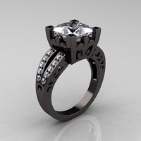 French Vintage 14K Black Gold 3.8 Carat Princess White Sapphire Diamond Solitaire Ring R222-BGDWS