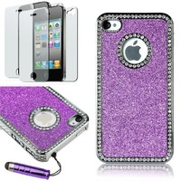 Pandamimi Deluxe Pink Chrome Bling Crystal Rhinestone Hard Case Skin Cover for Apple iPhone 4 4S 4G With 2 Pcs Screen Protector and Pink Stylus