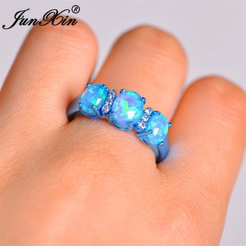 JUNXIN Female Blue Round Fire Opal Ring Fashion Gold Filled Jewelry High Quality Vintage Wedding Rings For Women Unique Ring