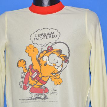 70s Garfield Dream In Stereo Sleep t-shirt Youth Extra Large
