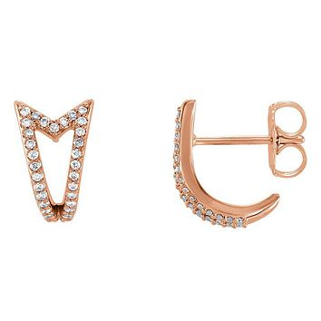 7 x 10mm 14k Rose Gold 1/6 CTW (G-H, I1) Diamond Arrow J-Hoop Earrings