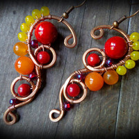 Red Tribal Earrings, Copper spiral earrings, ombre fire, wire wrapped earrings, bohemian jewelry, festive ethnic jewelry, red yellow orange