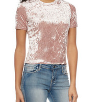 Crushed Velvet Crop Top with Short Sleeves