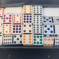 Vintage Double Twelve color dot Dominoes Pavilion 91 Shiny Clean tiles  Carrying Case  Box