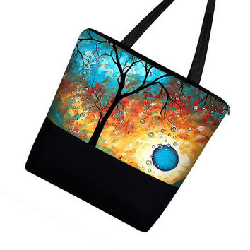 "Large Tote Bag Purse / Diaper Bag / Cute by janinekingdesigns / ""Aqua Burn"" Abstract Art Design by MADART"